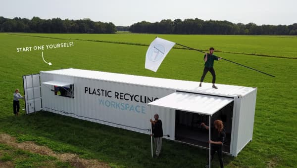 A shipping container turned into the Precious Plastic workspace.