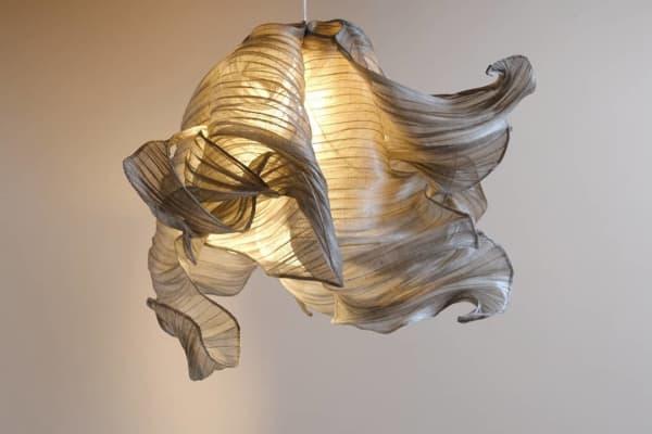 Ceiling lamps made of banana fibre.