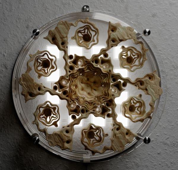 Wall lamp reproducing natural fractals.