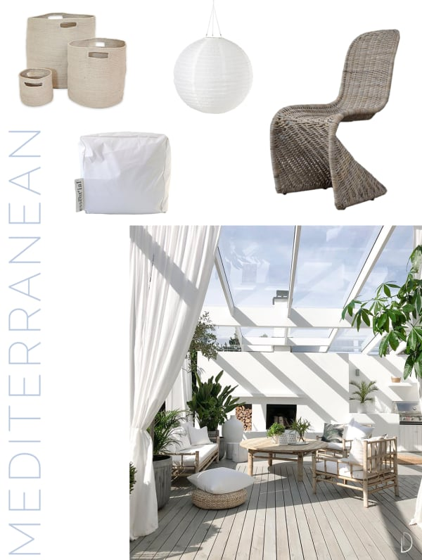 Moodboard of an outdoor concept design in a Mediterranean style, created using all sustainable design products.