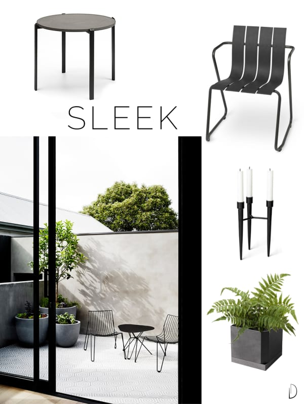 Moodboard of an outdoor concept design in a Sleek style, created using all sustainable design products.