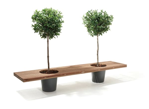 Wooden bench with two integrated planters.