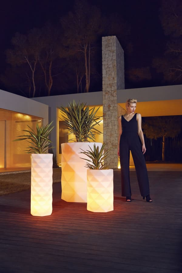 Outdoor planters that double as ambient light.