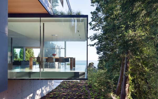 Home with cantilevered dining room.