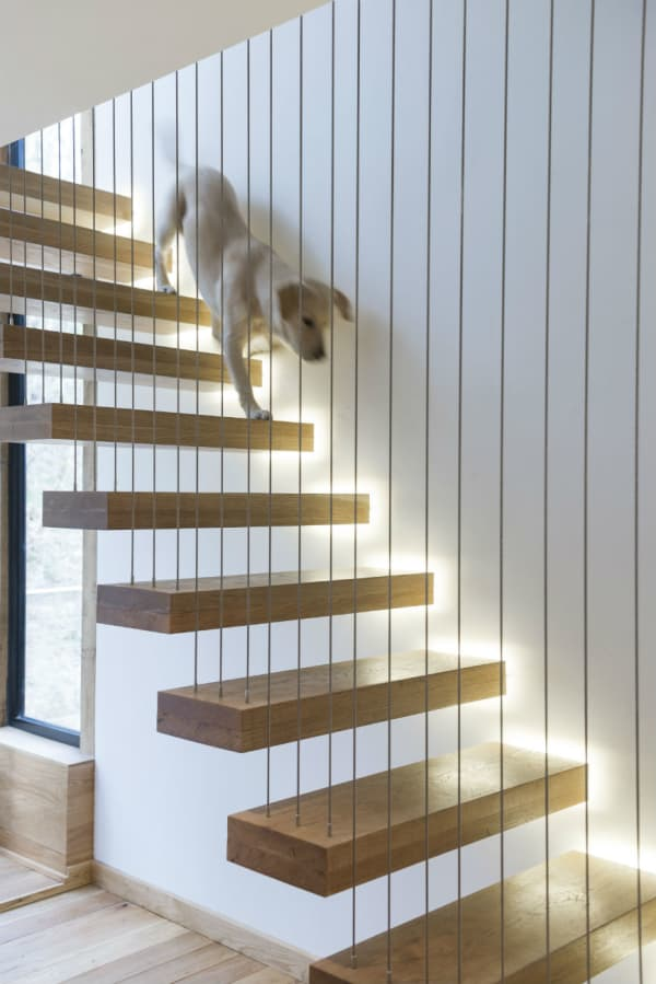 A floating staircase with a thin and risky-looking thread working as railing.