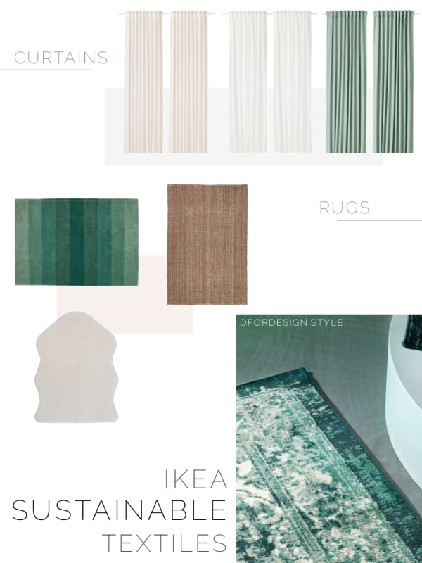 Moodboard showing a variety of sustainable curtains and rugs.