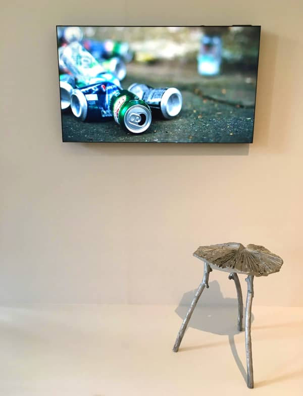 Photo of a stool made with recycled aluminum cans.