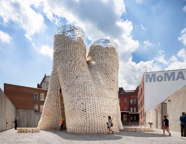 Building made of mycelium bricks.