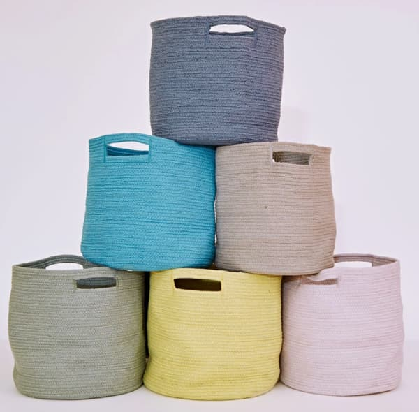Fabric baskets made of plastic bottles.