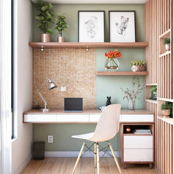 Home office shielded with a wooden partition.