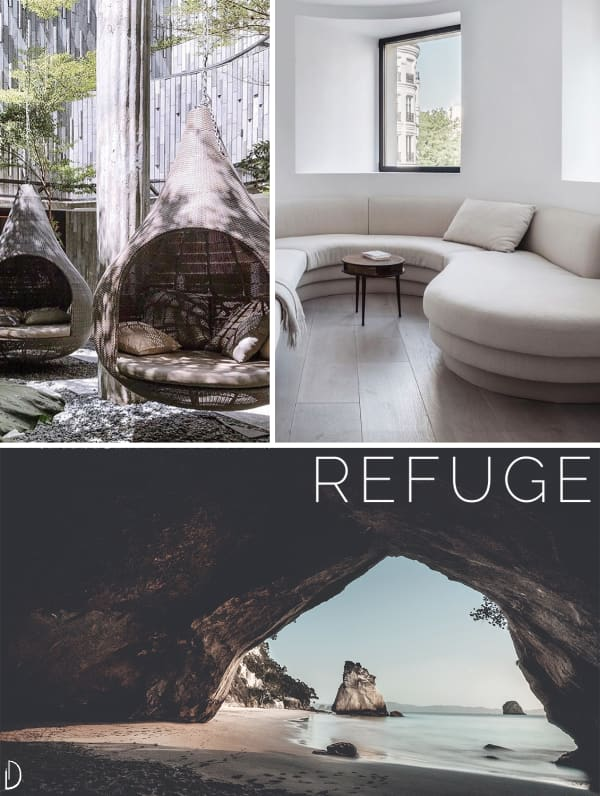Biophilic moodboard showing a sense of refuge: hanging enveloping chairs, a curved sofa, a cave on the beach.