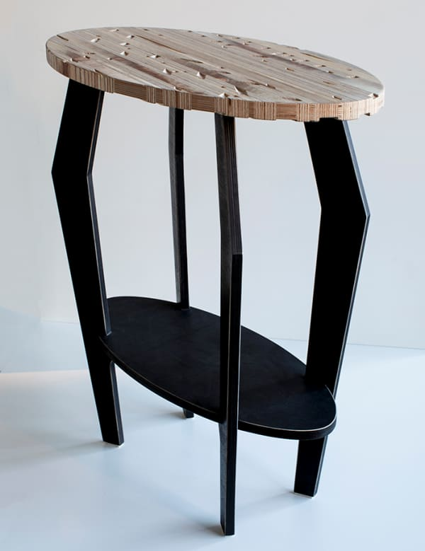 Side table made of recycled plywood.