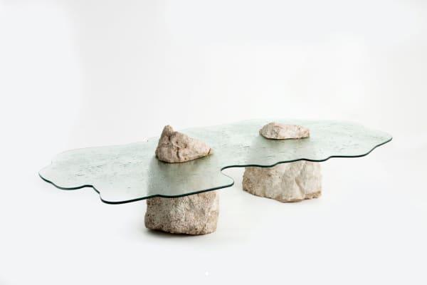 Lavastone low table representing rising ocean levels.