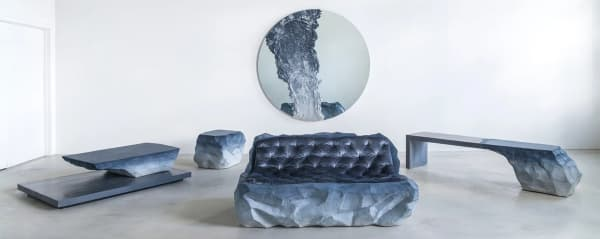 Drift collection including a mirror, a sofa, a bench, an ottoman and a console table inspired by the issue of melting glaciers.
