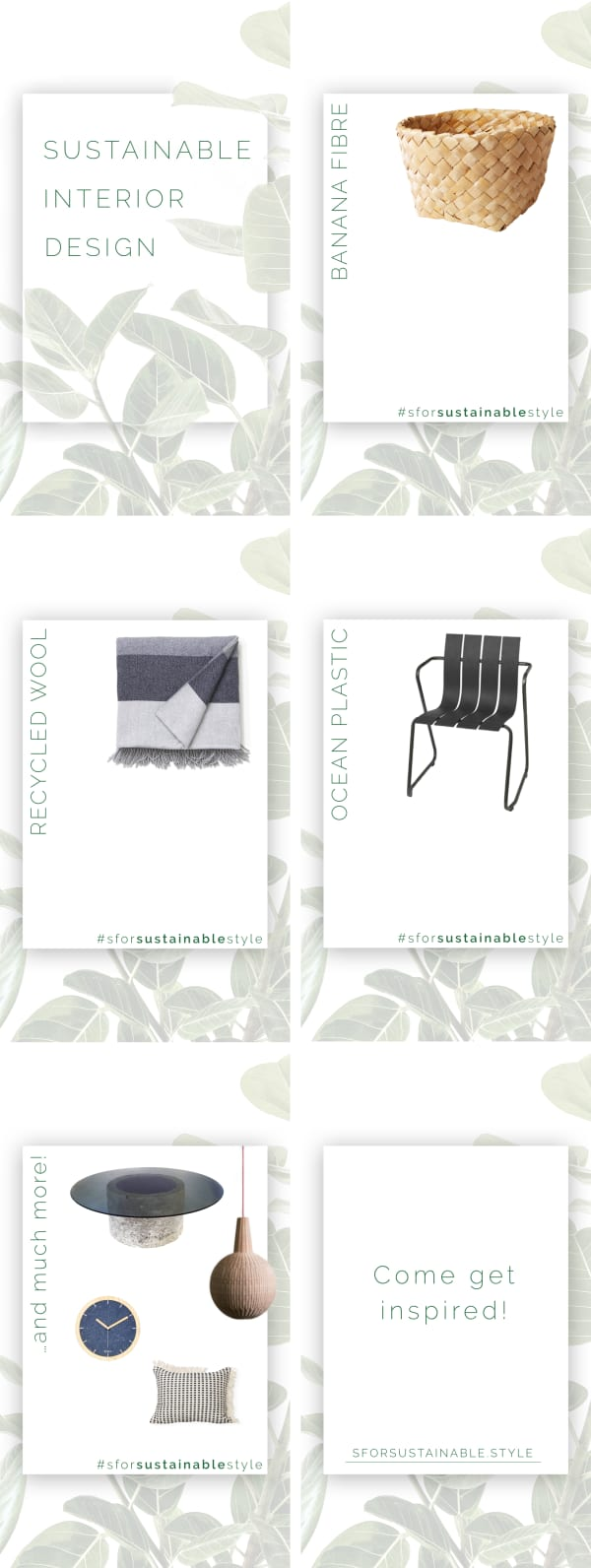 Infographic showing a few of the sustainable interior design products featured on SforSustainable: a banana fibre basket, a recycled wool blanket, and an ocean plastic chair