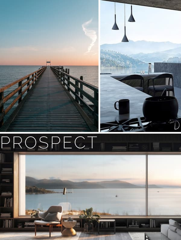 Moodboard showing three examples of prospect: a bridge over the ocean, an open space with huge window and an interior with a big window looking into an expanse of water.