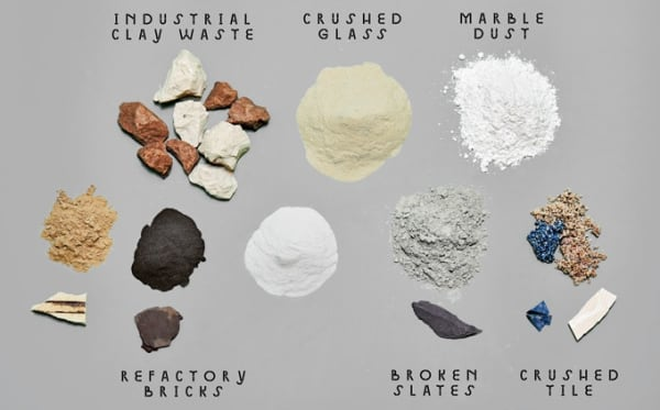 View of all the materials that make Granbyware: industrial clay waste, crushed glass, marble dust, refectory bricks, broken slates, crushed tile.