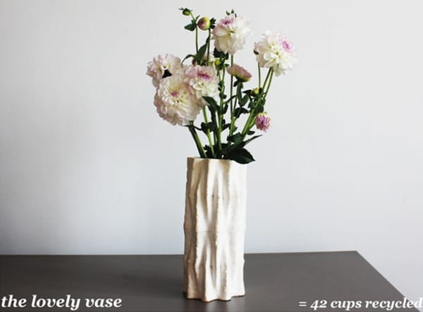 The Lovely vase, made upcycling 42 coffee cups.