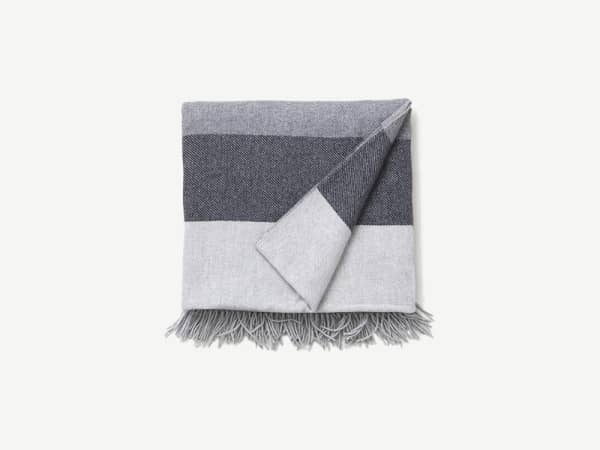Striped blanket in different shades of grey.