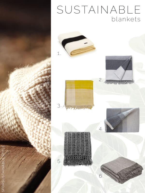 Moodboard showing a warm texture of wool and 6 sustainable blankets.