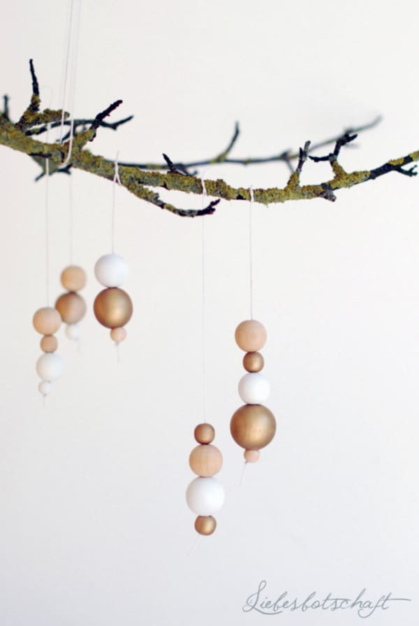 Sustainable Christmas ornament made with wooden beads.