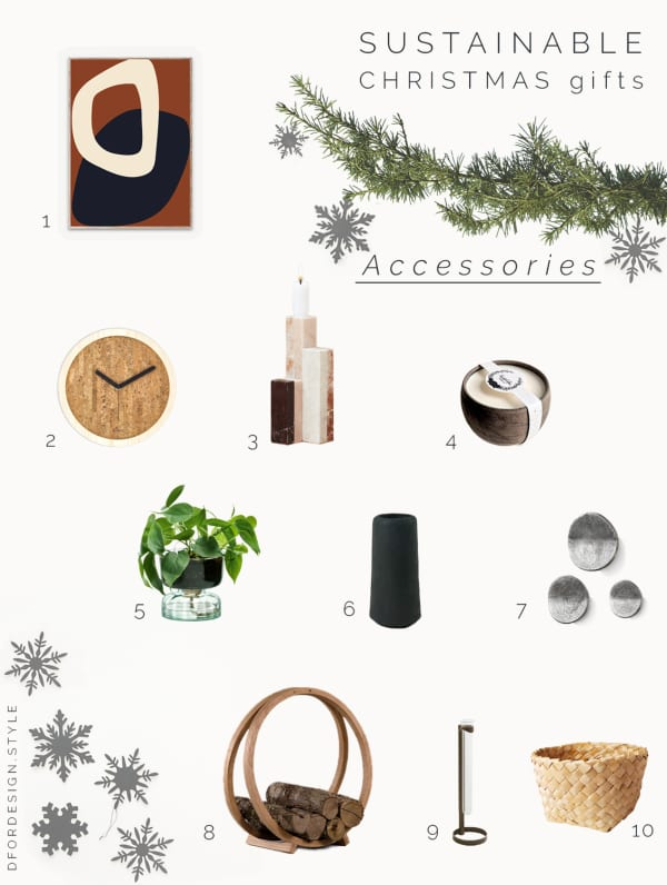 Moodboard showing 10 home accessories that would be a great gift idea for a sustainable Christmas.