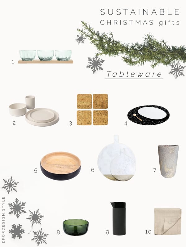 Moodboard showing 10 tableware gift ideas.