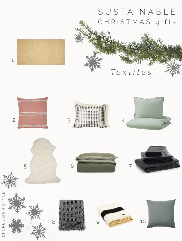 Moodboard showing 10 textile gift ideas.