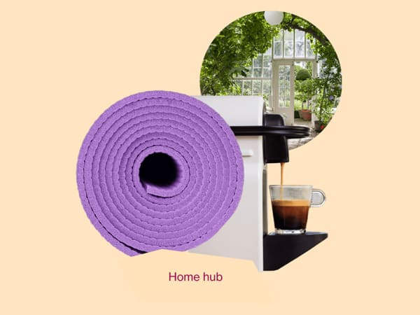 """""""Home hub"""" graphic representing a yoga mat, a coffee machine and a room full of greenery."""