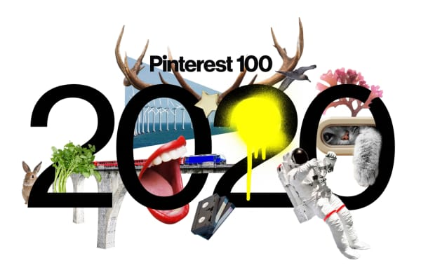 2020 graphic presenting the latest interior design trends defined by Pinterest.