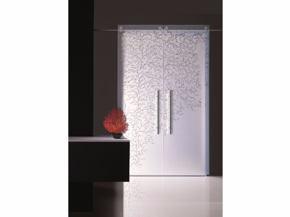 "Sliding door with a coral patter impressed, great example of biophilic design.<span class=""sr-only""> (opened in a new window/tab)</span>"