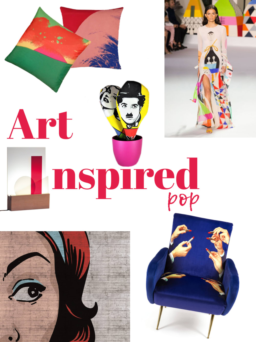 "Art-inspired pop mood board: a selection of furniture and accessories.<span class=""sr-only""> (opened in a new window/tab)</span>"