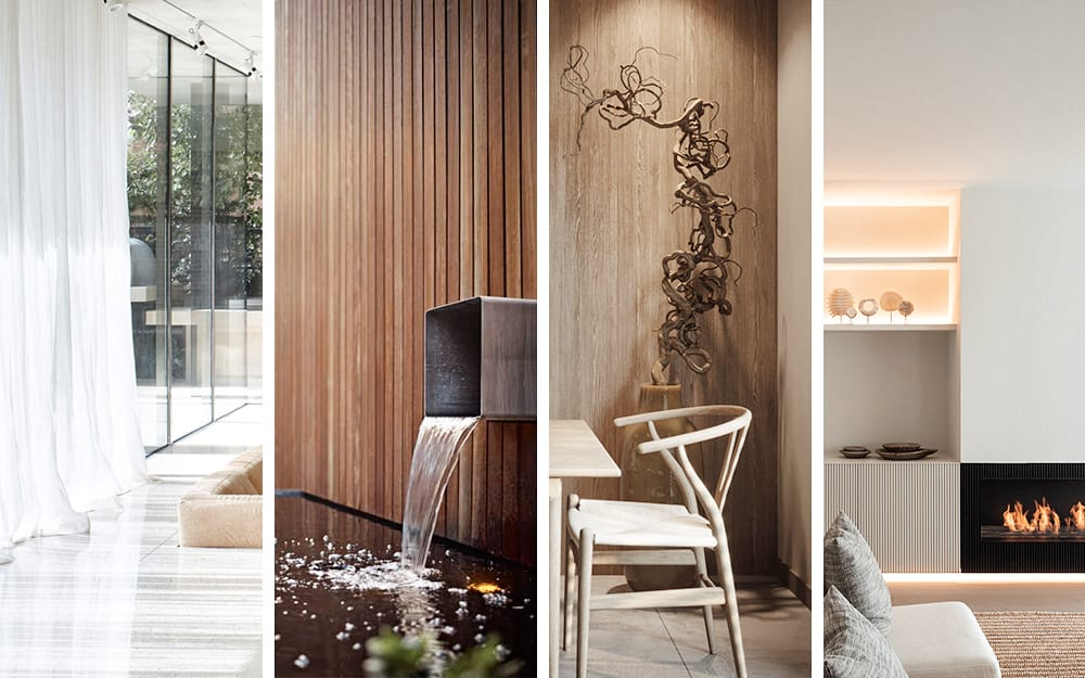 """Moodboard showing the 4 elements in interiors. 1. a curtain swinging in the wind 2. a fountain in a patio 3. a branch used as decor 4. a fireplace in a minimal living room.<span class=""""sr-only""""> (opened in a new window/tab)</span>"""