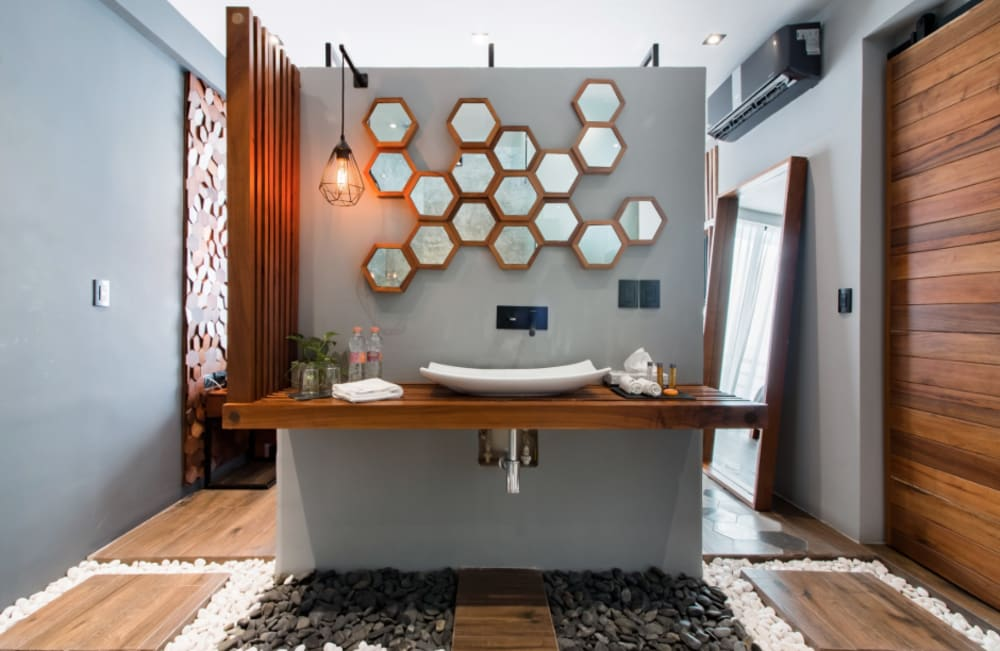 """Ensuite bathroom; view of the mirror and sink.<span class=""""sr-only""""> (opened in a new window/tab)</span>"""