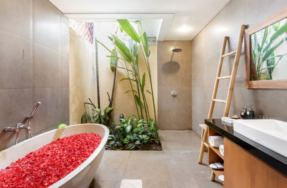 """Biophilic bathroom with a greenery corner.<span class=""""sr-only""""> (opened in a new window/tab)</span>"""
