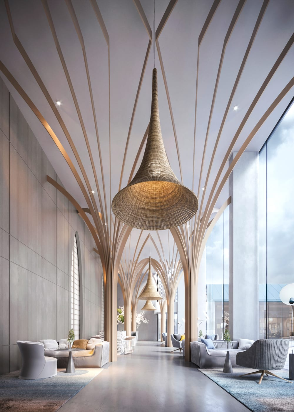 """Hotel lobby with wooden pillars imitating the shape of tree branches.<span class=""""sr-only""""> (opened in a new window/tab)</span>"""