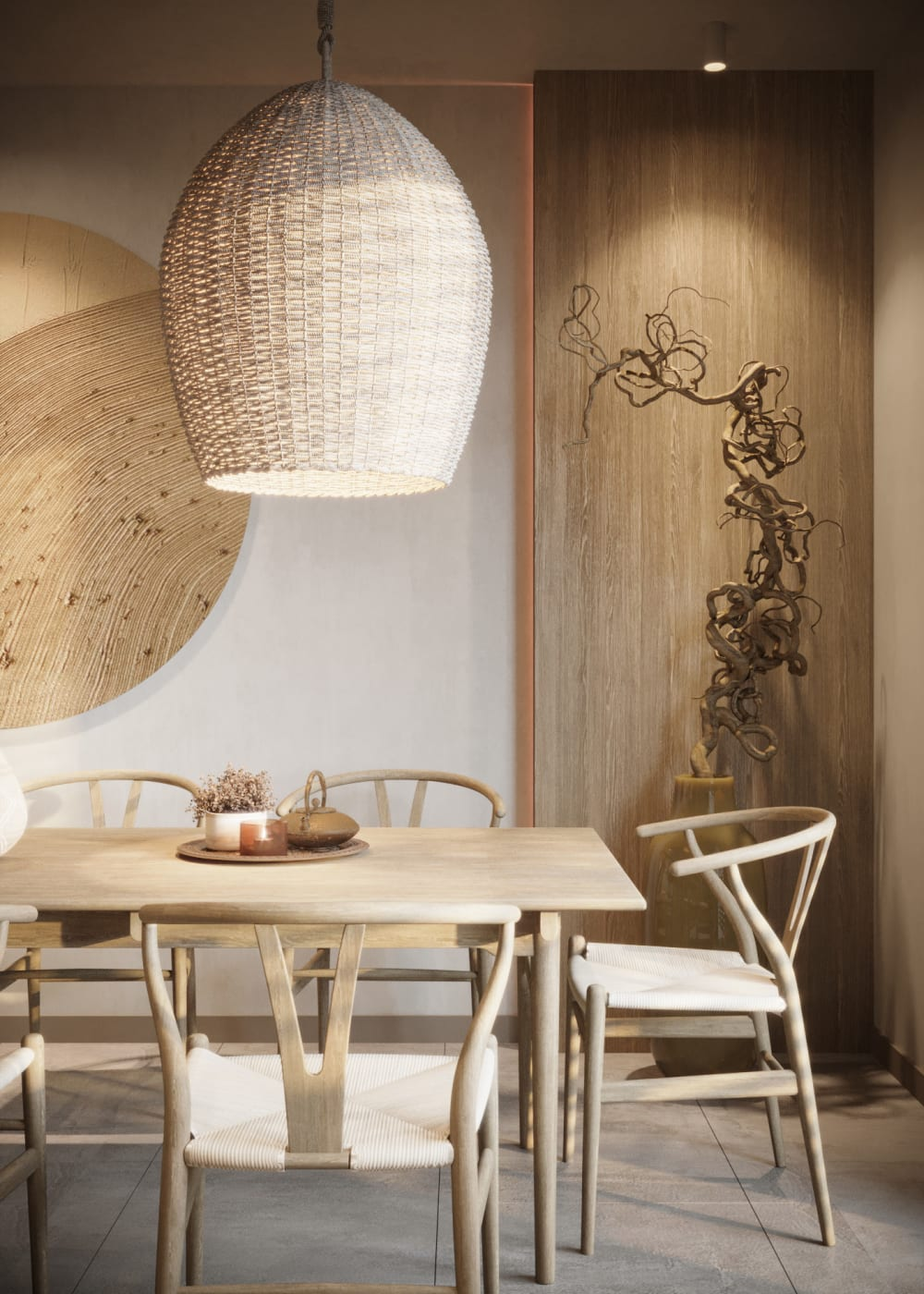 """Dining room with a total beige palette and plenty of overlapping textures.<span class=""""sr-only""""> (opened in a new window/tab)</span>"""