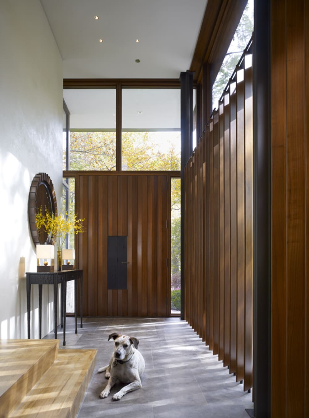 """Biophilic entryway where the top of the front door is glazed.<span class=""""sr-only""""> (opened in a new window/tab)</span>"""