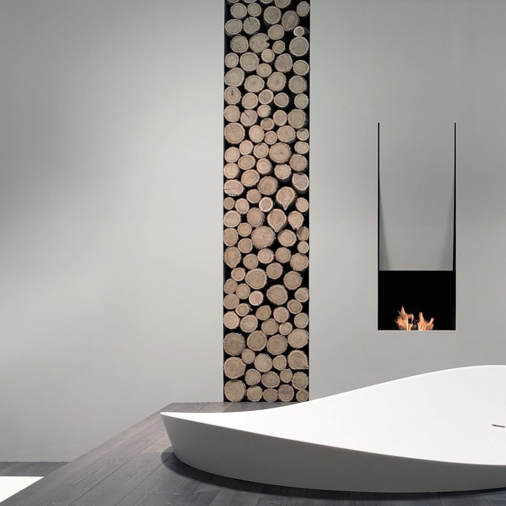 "Contemporary bathroom with sunken bathtub and minimal fireplace.<span class=""sr-only""> (opened in a new window/tab)</span>"