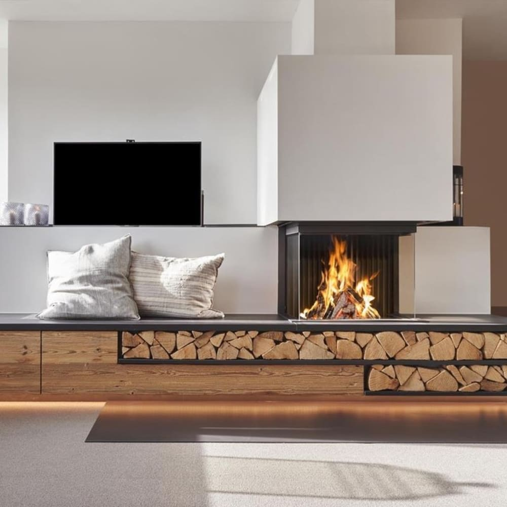 "Contemporary fireplace in a living room.<span class=""sr-only""> (opened in a new window/tab)</span>"