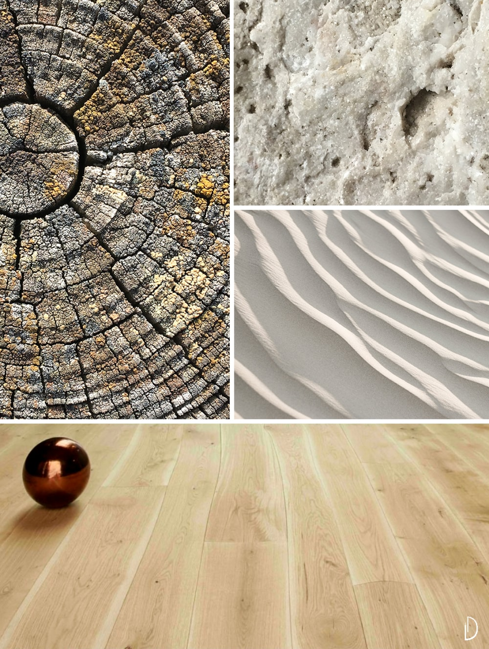 """Moodboard depicting natural textures: a wood flooring, the close-up of a tree trunk, an expanse of sand and the detail of a stone texture.<span class=""""sr-only""""> (opened in a new window/tab)</span>"""
