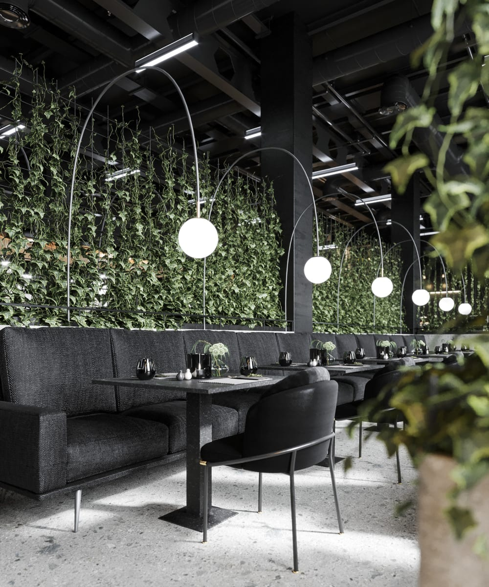 "Contemporary restaurant with climbing plants as room dividers.<span class=""sr-only""> (opened in a new window/tab)</span>"