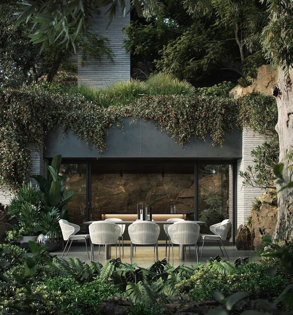 "Outdoor dining area totally surrounded by greenery.<span class=""sr-only""> (opened in a new window/tab)</span>"