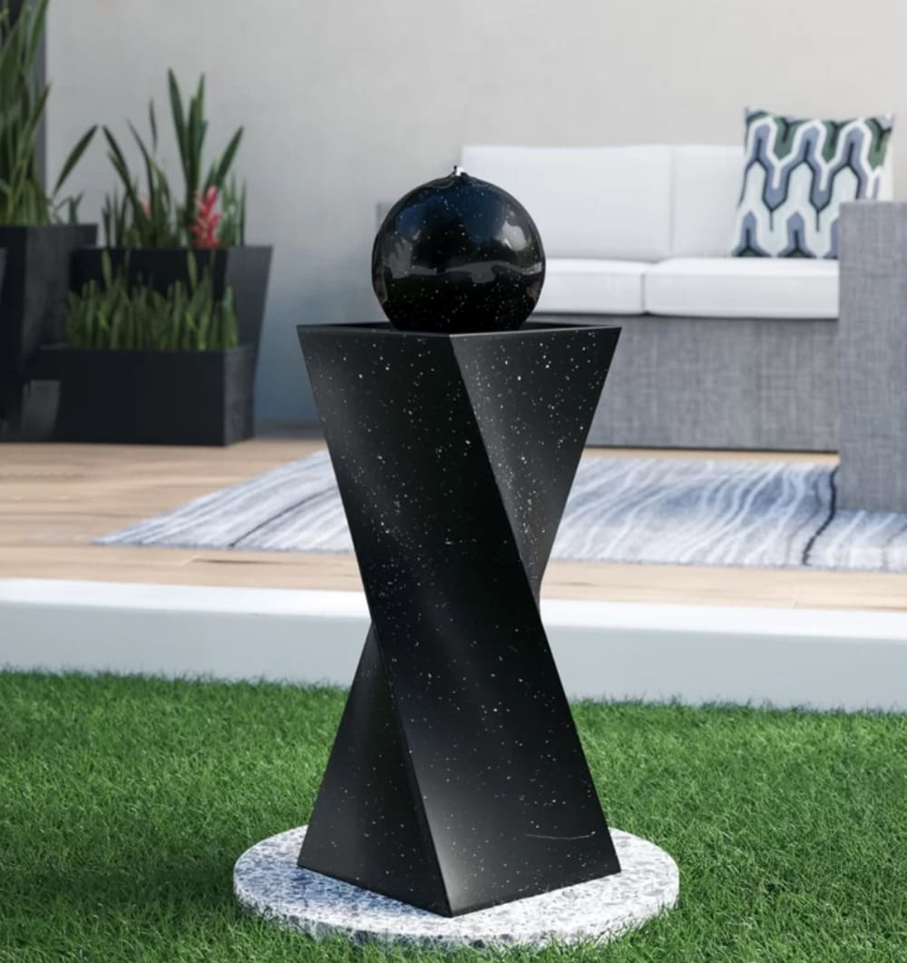 """Small water fountain, perfect addition to a small space to create a biophilic design.<span class=""""sr-only""""> (opened in a new window/tab)</span>"""