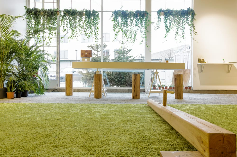 """View of a biophilic gym showing wide floor-to-ceiling windows that let in a lot of natural light.<span class=""""sr-only""""> (opened in a new window/tab)</span>"""
