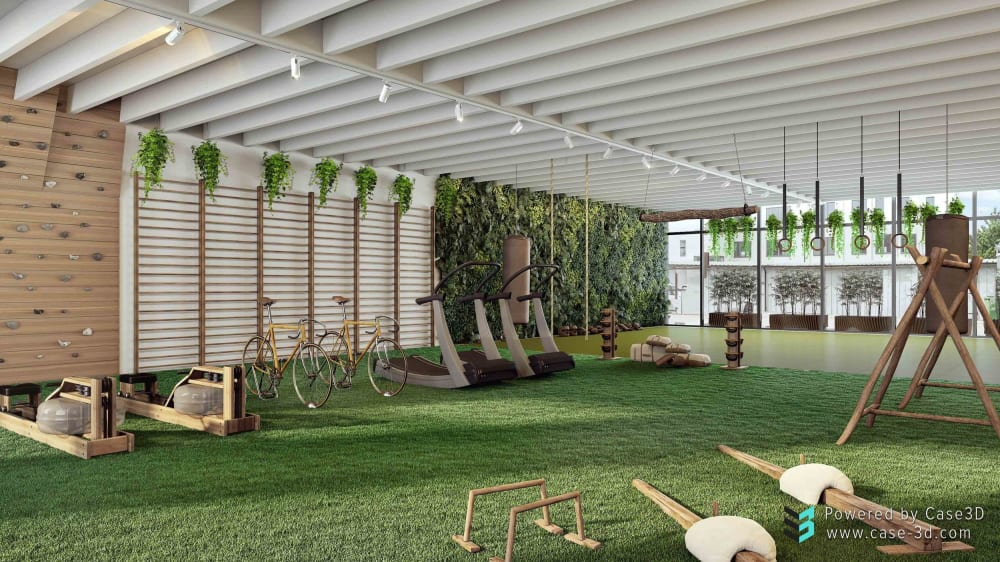 """3D view of the different areas of a biophilic gym, all seamlessly tied together.<span class=""""sr-only""""> (opened in a new window/tab)</span>"""
