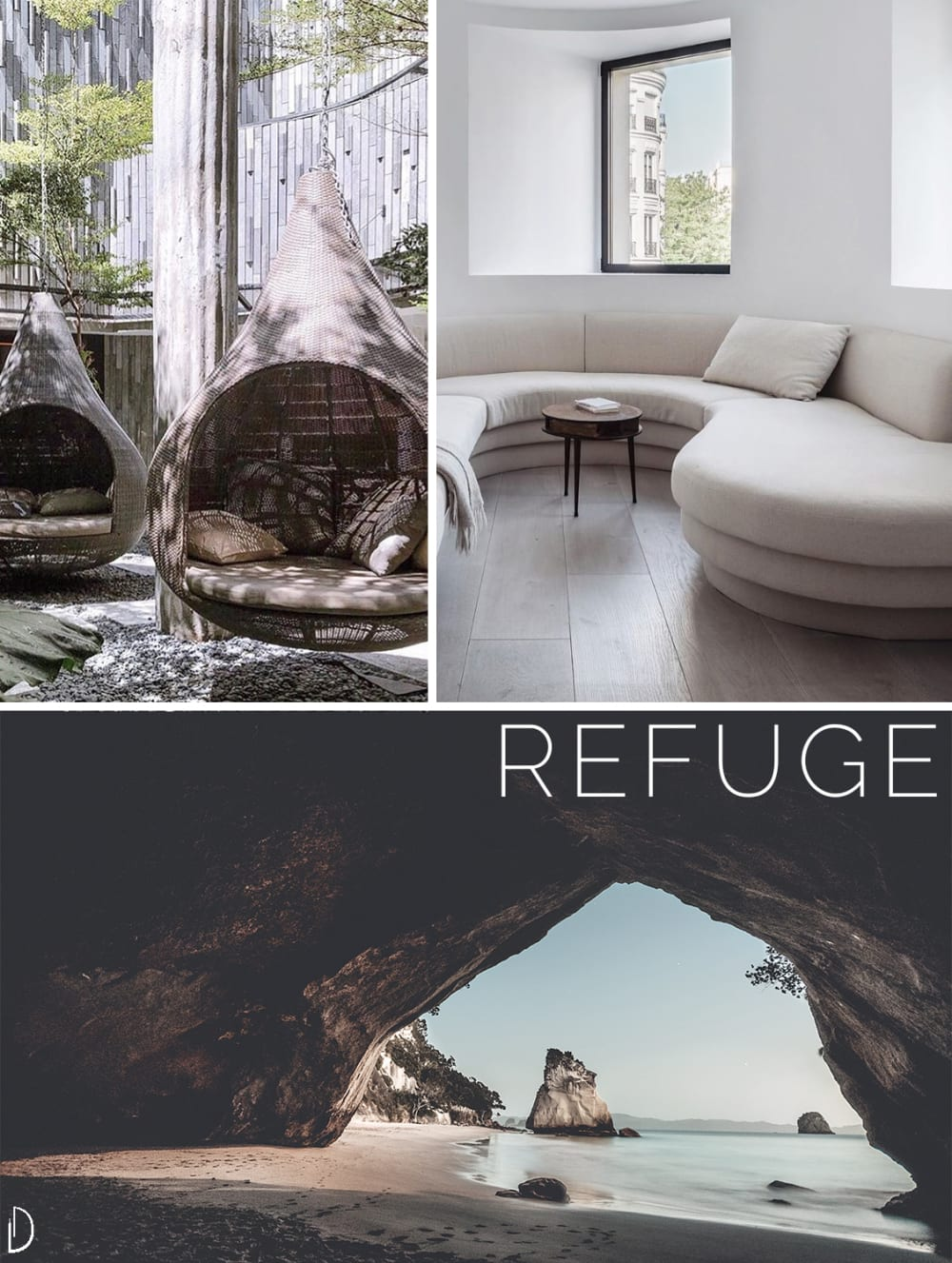 "Biophilic moodboard showing a sense of refuge: hanging enveloping chairs, a curved sofa, a cave on the beach.<span class=""sr-only""> (opened in a new window/tab)</span>"
