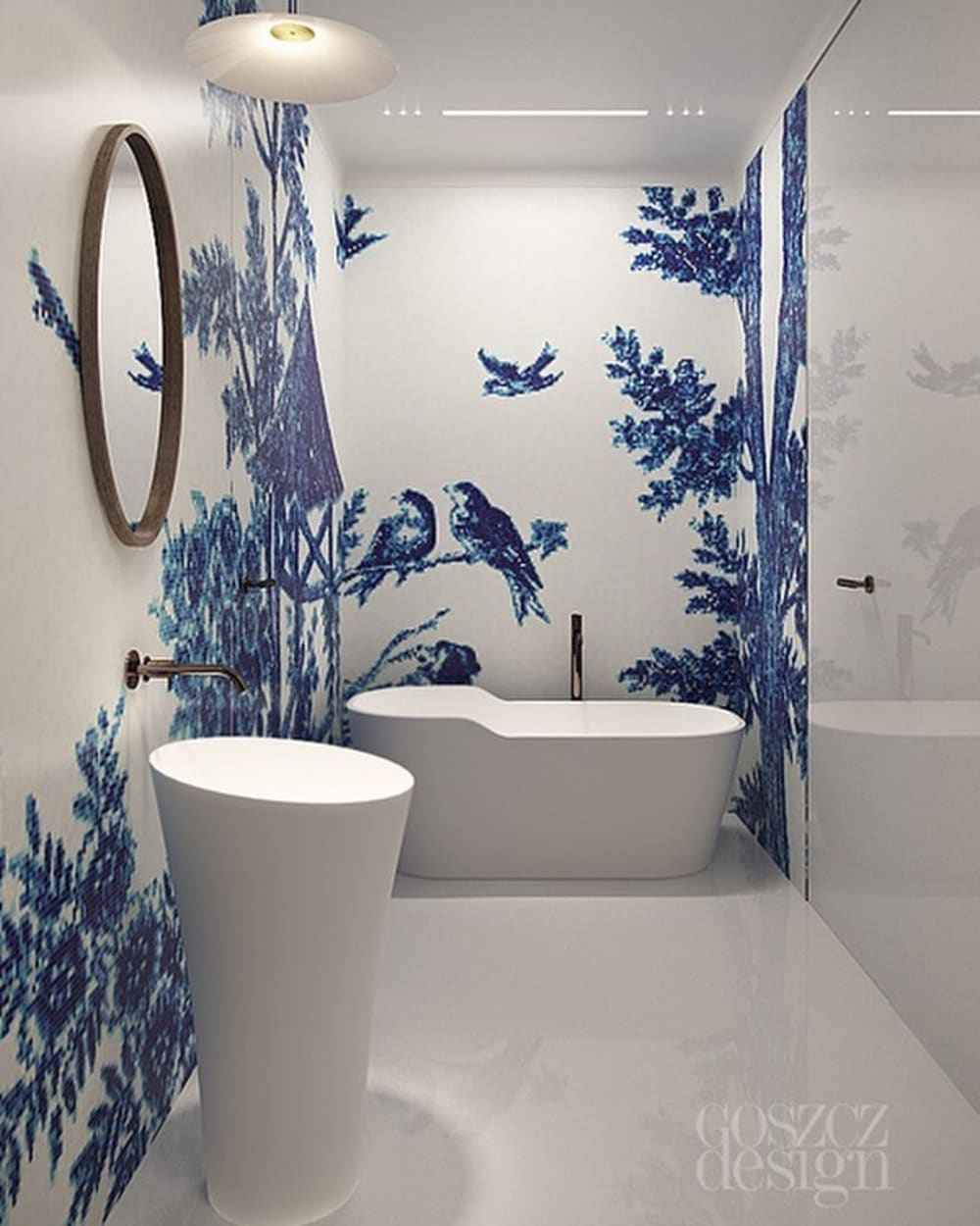 "Total white bathroom with blue mosaic wall finish representing birds and branches.<span class=""sr-only""> (opened in a new window/tab)</span>"