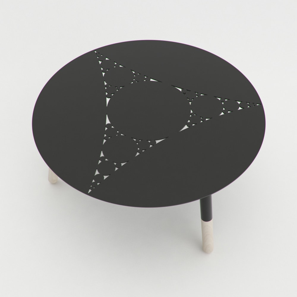 """Minimal coffee table with a fractal pattern cut on the metal top.<span class=""""sr-only""""> (opened in a new window/tab)</span>"""