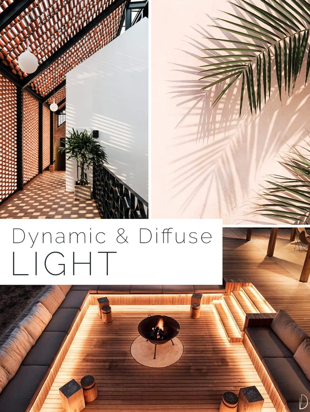"""Biophilic design moodboard showing examples of dynamic & diffuse lighting. 1. Light drawing a pattern on the floor while filtering through a brick ceiling. 2. A palm leaf reflecting on a wall. 3. A sunk outdoor space with strategically placed accent lighting.<span class=""""sr-only""""> (opened in a new window/tab)</span>"""